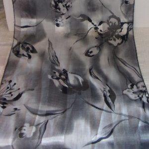 "Vintage Black Gray Polyester Scarf 13.5"" x 60"""